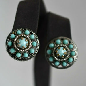 Vintage Screw Back Earrings Round